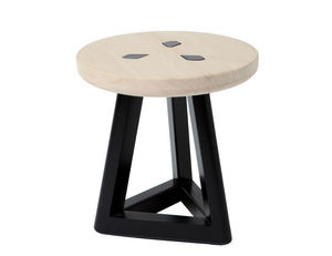 MARCEL BY - tabouret koo b en pin naturel et noir 35x35cm - Hocker