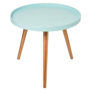 La Chaise Longue - table basse bleue aqua 50x45cm - Runder Couchtisch