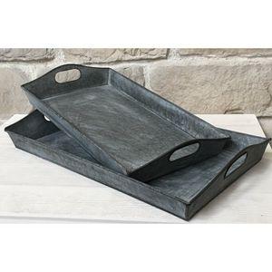 CHEMIN DE CAMPAGNE - deux plateaux en zinc style campagne industriel - Tablett