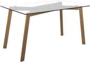 jardindeco - table en verre piètement impression chêne - Rechteckiger Esstisch