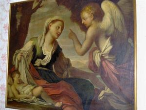 LA CONGREGA ANTICHITA' - dipinto agar e ismaele - Ölgemelde Auf Leinwand Und Holztafel