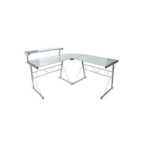 KOKOON DESIGN - Computermöbel-KOKOON DESIGN-bureau d'angle verre teinté blanc