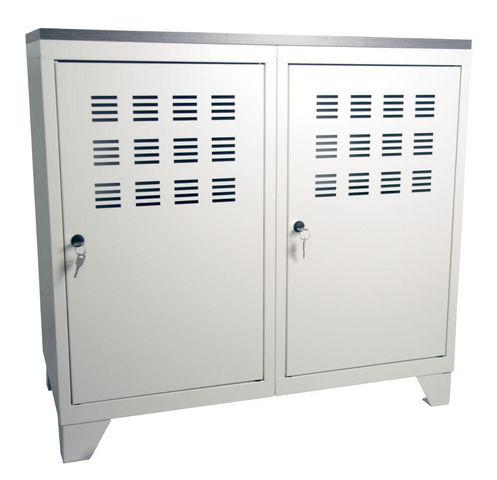 PIERRE HENRY - Büroschrank-PIERRE HENRY-Armoire de rangement métal 2 portes Blanc