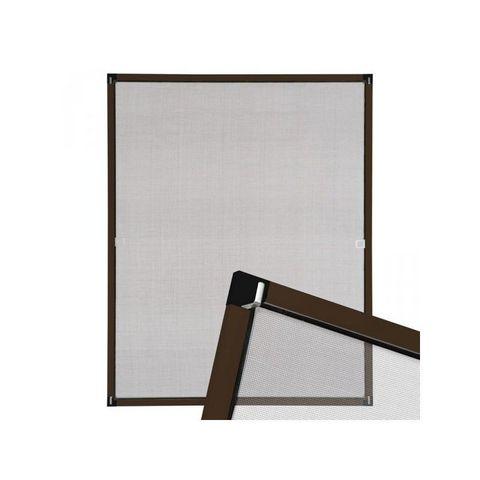 WHITE LABEL - Fliegengitter für Fenster-WHITE LABEL-Moustiquaire pour fenêtre cadre fixe en aluminium 100x120 cm brun
