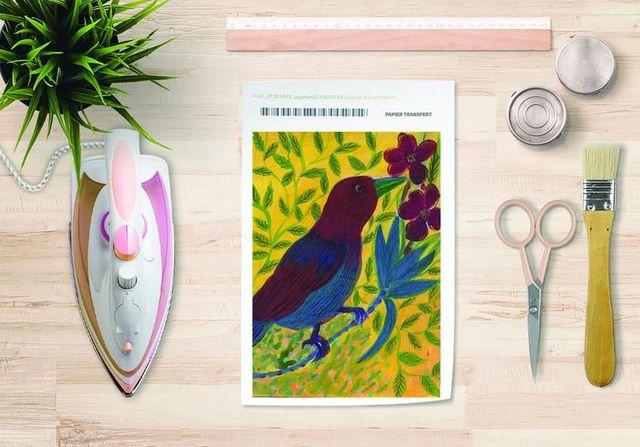 la Magie dans l'Image - Verlegung-la Magie dans l'Image-Papier transfert Oiseau Bordeaux
