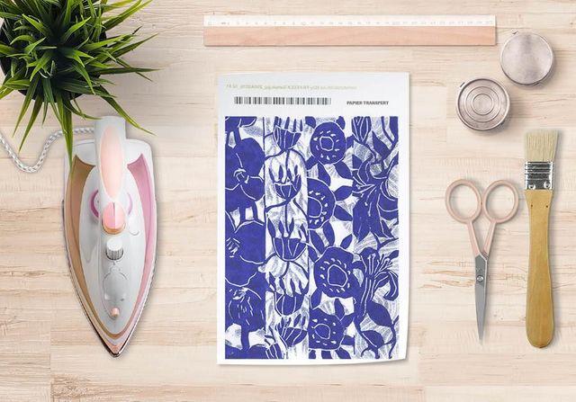 la Magie dans l'Image - Verlegung-la Magie dans l'Image-Papier transfert Végétal Bleu Blanc