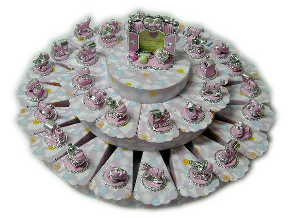BOMBONIERA SHOP - Bonbonniere Taufe/Kommunion-BOMBONIERA SHOP-Torta nuvoletta rosa