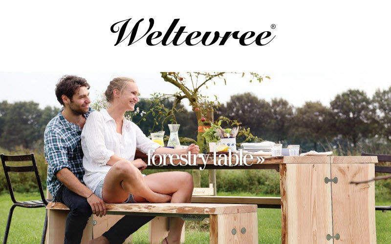 WELTEVREE Mesa de picnic Mesas de jardín Jardín Mobiliario  |