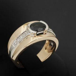 Expertissim - bague bandeau or, saphir et diamants - Anillo
