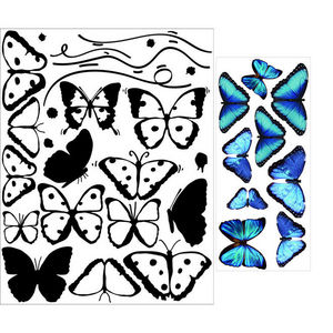 ALFRED CREATION - sticker papillons bleus - Pegatina