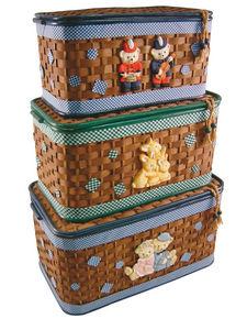 Aubry-Gaspard - coffre à jouets en bambou (lot de 3) - Baúl Para Juguetes