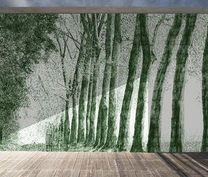 IN CREATION - forêt au crayon vert - Papel Pintado