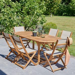 BOIS DESSUS BOIS DESSOUS - salon de jardin en bois d'acacia fsc extensible 6 - Comedor De Exterior