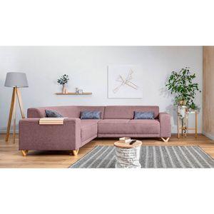 BOBOCHIC - canapé d'angle panoramique fixe bella rose poudré angle gauche - Sofá De Esquina