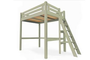 ABC MEUBLES - abc meubles - lit mezzanine alpage bois + échelle hauteur réglable moka 120x200 - Cama Alta