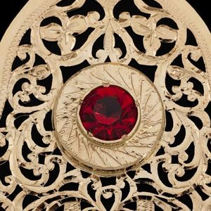 Expertissim - pendentif en or et pierre rouge - Colgante