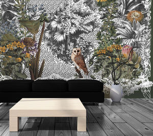 IN CREATION - hibou et jungle - Papel Pintado Personalizado