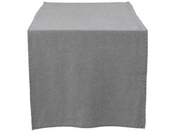 Athezza - chemin de table lin lav� gris 50x150cm - Centro De Mesa