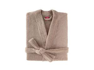 BLANC CERISE - peignoir col kimono - coton peigné 450 g/m² sable - Albornoz