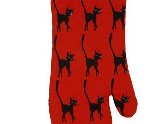 SIRETEX - SENSEI - gant à four imprimé chat smart rouge - Manopla