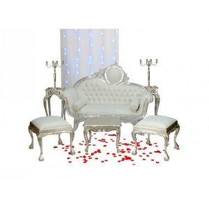 DECO PRIVE - canape baroque imitation cuir blanc et deco de mar - Salón