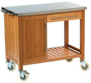 DM CREATION - chariot plancha en bambou et inox 100x55x88cm - Mesa Con Ruedas Para Jardín