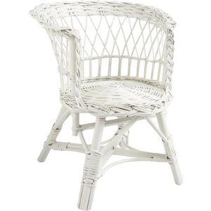 Aubry-Gaspard - fauteuil enfant en osier laqué blanc 38x40x48cm - Butaca Para Niño