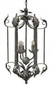 Demeure et Jardin - lanterne fer forgé feuille d'acanthes taupe - Lámpara Colgante De Exterior