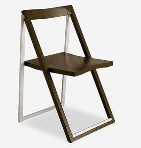 Calligaris - chaise pliante skip wengé et aluminium satiné de c - Silla Plegable
