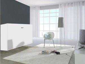 WHITE LABEL - armoire lit linea transversale façade blanc mat ,  - Cama Plegable