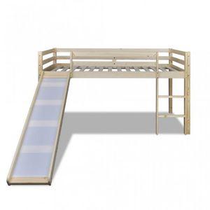 WHITE LABEL - lit mezzanine bois avec toboggan et échelle - Cama Para Niño