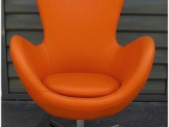 Mathi Design - fauteuil cocoon aspect cuir - Sillón Giratorio