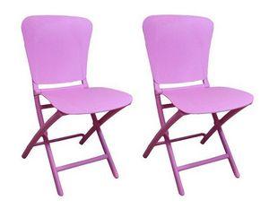 WHITE LABEL - lot de 2 chaises pliante zak design lilas - Silla Plegable