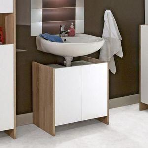 WHITE LABEL - meuble sous-vasque dova design chêne 2 portes blan - Mueble Bajobañera