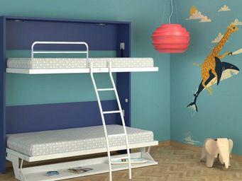 WHITE LABEL - armoire lit transversale pos�idon avec bureau couc - Armario Cama
