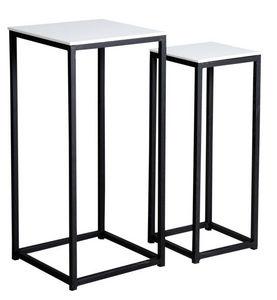 Aubry-Gaspard - sellettes carrées en bois et métal (lot de 2) - Pedestal
