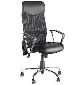 KOKOON DESIGN - fauteuil de bureau noir design en similicuir et mé - Silla De Despacho