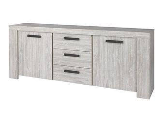 WHITE LABEL - buffet 2 portes 3 tiroirs gris cendré 195 cm - jac - Aparador Bajo