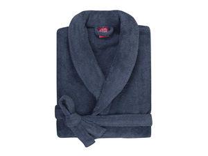 BLANC CERISE - peignoir col kimono - coton peigné 450 g/m² bleu - Albornoz