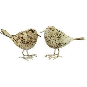 CHEMIN DE CAMPAGNE - statue sculpture couple d'oiseaux beige en fer de - Ornamento De Jardín