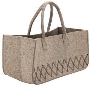 AUBRY GASPARD - sac à bûches en feutrine beige - Saco Para Leñas