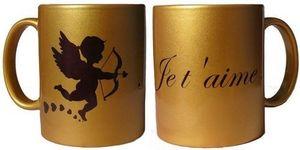 IMAGE CREATIONS - mug cupidon doré avec texte personnalisé - Taza