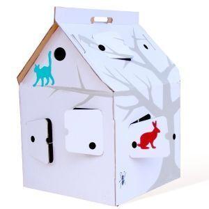KIDS LOVE DESIGN - casa cabana, maison en carton avec dessins - Casa De Juego