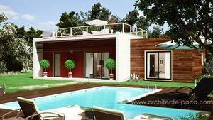 Pascal CAMLITI Architecte - plan maison bois contemporaine - Casa De Planta Baja