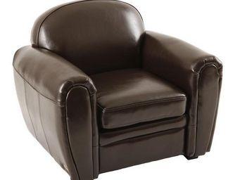 Miliboo - fauteuil club enfant en cuir marron baby club - Butaca Para Niño