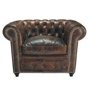 Maisons du monde - fauteuil cuir marron vintage - Sillón