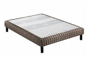 WHITE LABEL - sommier tapissier epeda piqué châtaigne confort mo - Canapé Con Muelles
