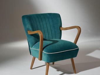 Robin des bois - fauteuil sixty bleu turquoise - Silla Baja