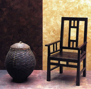 Matahati - fauteuil en teck et marqueterie - Sillón