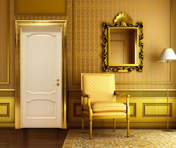 BERTOLOTTO PORTE - Puerta de comunicación maciza-BERTOLOTTO PORTE-Venezia - Sirio con cornice Barocca Oro